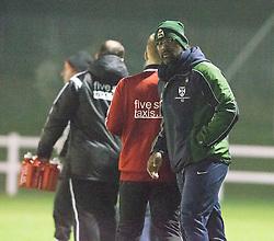 Edinburgh University's manager Dorian Ogunro at the end.<br /> Edinburgh University 2 v 3 Gala Fairydean Rovers, Scottish Sun Lowland League game played 15/11/2014 at Peffermill Playing Fields.