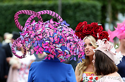 A hat worn by Nataliya Tutus during day one of Royal Ascot at Ascot Racecourse.
