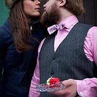 Hjalti Nönnuson gets a goodbye kiss from his wife Þorbjörg Ágústsdóttir in Reykjavik, Iceland, December 25, 2013.