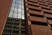DALLAS, TX - SEPTEMBER 2: El Centro College reflected in the windows of the parking garage where on July 7, 2016 Micah Johnson ambushed a group of Dallas police officers during a Black Lives Matter march through downtown Dallas, Texas killing 5 officers seen on September 2, 2016. (Photo by Cooper Neill for The Washington Post)