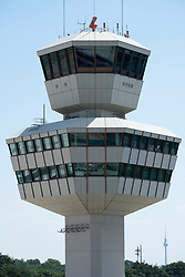 View of control tower at Tegel Airport in Berlin, Germany