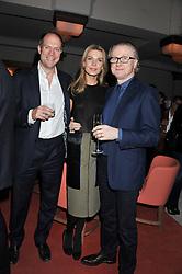 Left to right, HARRY BLAIN, and DAVID & INDRE ROBERTS at a private dinner hosted by Lucy Yeomans in honour of Jason Brooks at The Cafe Royal, Regent Street, London on 13th February 2013.