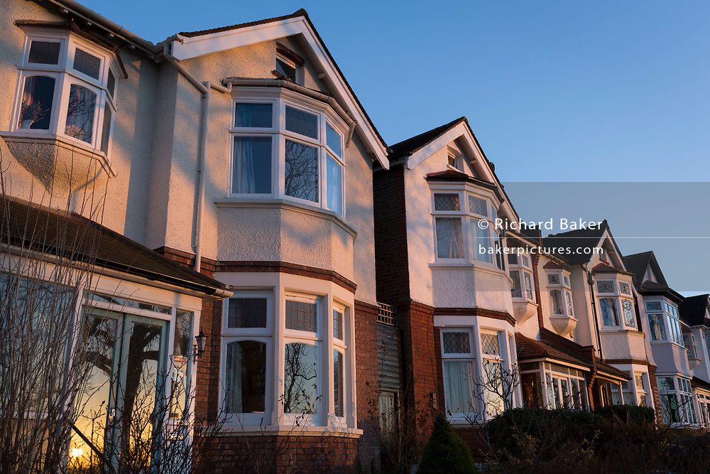 Semi-detached Edwardian period houses in warm evening sunshine, on 7th March 2018, in the south London borough of Lambeth.