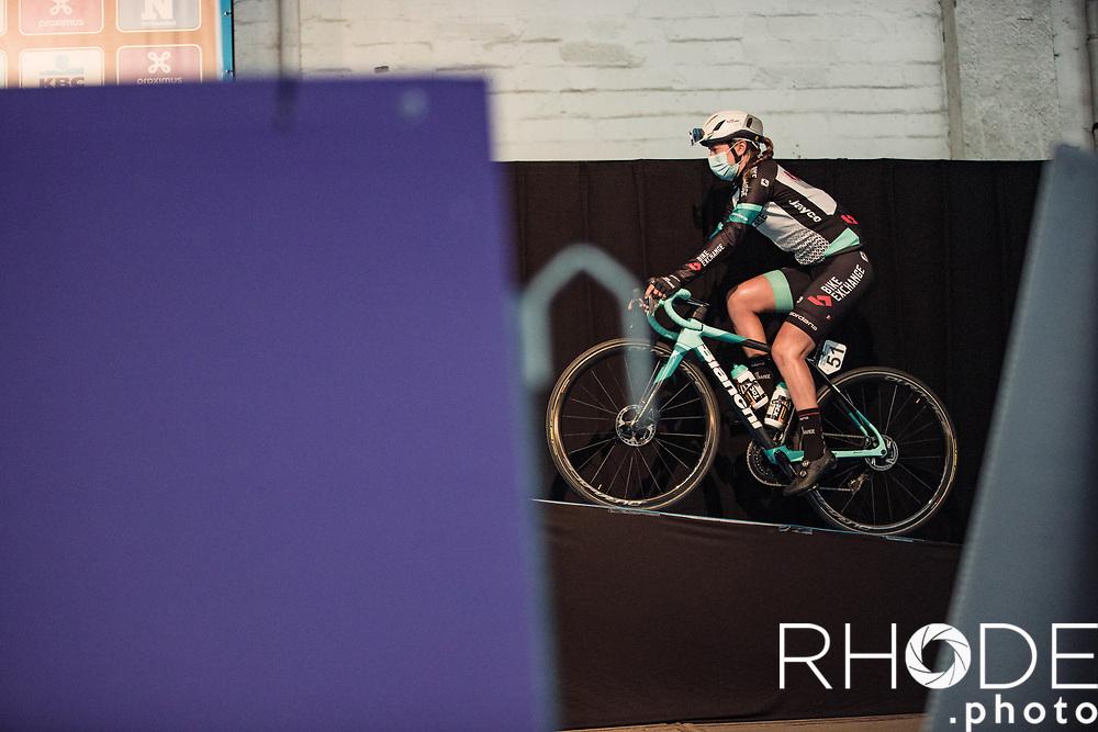 Jessica Allen (AUS/Team BikeExchange) on her way to the pre race team presentation<br /> <br /> 13th Women's Omloop Het Nieuwsblad 2021 <br /> 1 Day Race: Gent – Ninove 124km<br /> <br /> ©Rhode.Photo