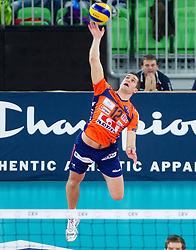 Gregor Ropret of ACH during volleyball match between ACH Volley and Lube Banca Marche Macerata (ITA) in 5th Leg of Pool D of 2013 CEV Champions League on December 5, 2012 in Arena Stozice, Ljubljana, Slovenia. ACH defeated Macerata 3-1. (Photo By Vid Ponikvar / Sportida)