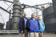 SHOT 10/29/18 9:43:56 AM - Sunrise Cooperative is a leading agricultural and energy cooperative based in Fremont, Ohio with members spanning from the Ohio River to Lake Erie. Sunrise is 100-percent farmer-owned and was formed through the merger of Trupointe Cooperative and Sunrise Cooperative on September 1, 2016. Photographed at the Clyde, Ohio grain elevator was George D. Secor President / CEO and John Lowry<br /> Chairman of the Board of Directors with  CoBank RM Gary Weidenborner. (Photo by Marc Piscotty © 2018)