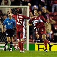 Photo: Jed Wee.<br />Middlesbrough v Dnipro. UEFA Cup. 03/11/2005.<br /><br />Middlesbrough goalscorer Mark Viduka (R) celebrates with James Morrison.