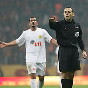 Referee's Cuneyt CAKIR during their Turkish Super League soccer match Galatasaray between Eskisehirspor at the Turk Telekom Arena at Seyrantepe in Istanbul Turkey on Sunday, 06 February 2011. Photo by TURKPIX