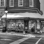 An early snowy morning on the corner outside of Hyperion Espresso in the historic district of Fredericksburg, VA.