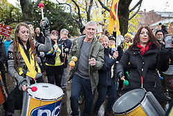 November 12, 2016 - Manchester, Greater Manchester, UK - Manchester , UK . BEZ ( Mark Berry ) . Approximately 2000 people march and rally against Fracking in Manchester City Centre  (Credit Image: © Joel Goodman/London News Pictures via ZUMA Wire)