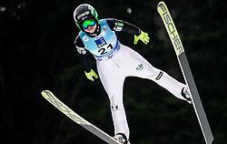 Spela Rogelj of Slovenia soaring through the air during Trial Round at Day 1 of World Cup Ski Jumping Ladies Ljubno 2019, on February 8, 2019 in Ljubno ob Savinji, Slovenia. Photo by Matic Ritonja / Sportida