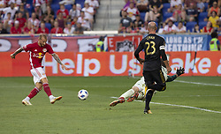 August 5, 2018 - Harrison, New Jersey, United States - Daniel Royer (77) of Red Bulls scores second goal during regular MLS game against LAFC at Red Bull Arena Red Bulls won 2 - 1  (Credit Image: © Lev Radin/Pacific Press via ZUMA Wire)