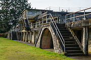 Battery Russell in Fort Stevens State Park, on the Oregon coast, USA. Fort Stevens operated from 1863–1947 as part of a three-fort American military system defending the Columbia River Mouth. Built near the end of the American Civil War, this American military installation was named for a slain Civil War general and former Washington Territory governor, Isaac I. Stevens. In June 1942 during World War II, a Japanese submarine fired 17 rounds upon Fort Stevens (luckily causing causing no real damage), making it the only military base on the Continental United States to be fired upon by an enemy since the War of 1812.