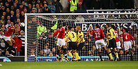 MANCHESTER, ENGLAND - MONDAY SEPTEMBER 20th 2004: Manchester United's Mikael Silverstre scores the opening goal against Liverpool during the Premiership match at Old Trafford. (Photo by David Rawcliffe/Propaganda)