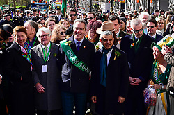 © Licensed to London News Pictures. 17/03/2019. LONDON, UK. Grand Marshall for the day, actor, James Nesbitt (C), poses with Sadiq Khan (3R), Mayor of London, at the start of the annual St. Patrick's Day parade and festival in the capital.  Photo credit: Stephen Chung/LNP