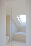 white bathroom built in loft