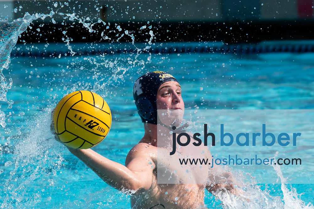 Santa Monica's Sawyer Koetters during the CIF-SS Division 4 boys water polo Final at William Woollett Jr. Aquatic Center on Saturday, November 10, 2018 in Irvine, Calif. (Photo by Josh Barber, Contributing Photographer)