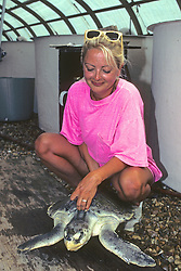 Sharon Dewing Holding Ridley Turtle