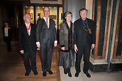Left to right, MAURICE COCKERILL RA, CHARLES SAUMAREZ SMITH Chief Executive of the Royal Academy and SIR NICHOLAS & LADY GRIMSHAW at a private view of the Royal Academy's Modern British Sculpture exhibition held at Burlington House, Piccadilly, London on 18th January 2011.
