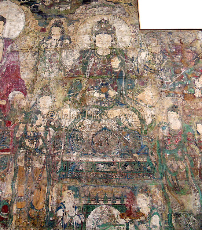 Buddha of Medicine Bhaishajyaguru (Yaoshi fo) (seated on a lotus throne). Chinese Yuan dynasty (1271–1368) ca. 1319. Water-based pigments over foundation of clay mixed with straw