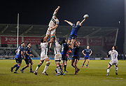 Sale Sharks No.8 Daniel Du Preez catches a line out during his sides 39-0 win during a Gallagher Premiership Rugby Union match, Friday, Mar. 6, 2020, in Eccles, United Kingdom. (Steve Flynn/Image of Sport)