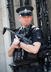 © Licensed to London News Pictures. 28/03/2017. London, UK. Armed police stand at the entrance to Horseguards Parade. Security around London has been increased following Khalid Masood's terrorist attack and the killing of PC Keith Palmer on 22 March. Photo credit : Tom Nicholson/LNP