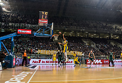 December 19, 2017 - Athens, Greece - Solidarity movent in Greece hold a banner reading 'Freedom to Palestine' during the 2017/2018 Turkish Airlines EuroLeague Regular Season Round 13 game between Panathinaikos Superfoods Athens and Maccabi Fox Tel Aviv at Olympic Sports Center Athens on December 19, 2017 in Athens, Greece. (Credit Image: © Dimitris Lampropoulos/NurPhoto via ZUMA Press)