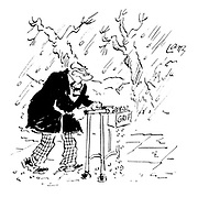 (Winter: an old man pushing a zimmer frame has a little grit dispenser in the front)
