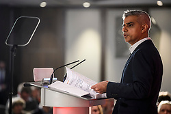 © Licensed to London News Pictures. 09/04/2018. London, UK. Mayor of London SADIQ KHAN speaking at the launch event for the Labour Party local election campaign launch in central London.  Labour are expected to make gains in the capital, potentially taking traditionally Conservative strongholds. Photo credit: Ben Cawthra/LNP