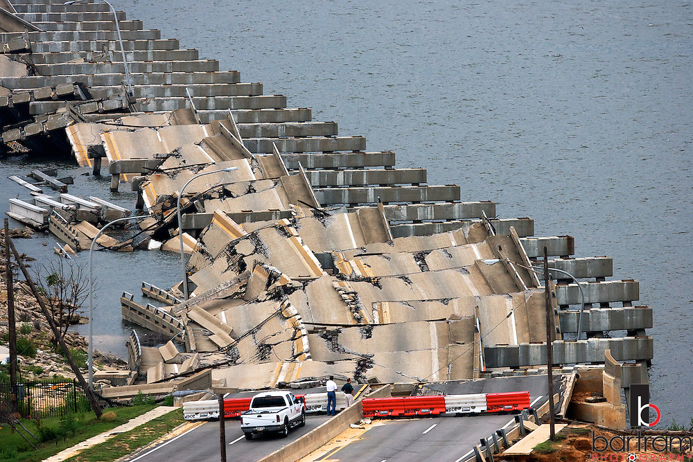 Hurricane Katrina damaged this section of US Highway 90 connecting Biloxi, Miss. to Ocean Springs, Miss. (Photo by Kevin Bartram)