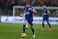 Marc Albrighton of Leicester city in action. Premier league match, Swansea city v Leicester City at the Liberty Stadium in Swansea, South Wales on Sunday 12th February 2017.<br /> pic by Andrew Orchard, Andrew Orchard sports photography.