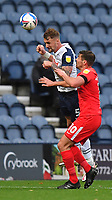 Preston North End's Patrick Bauer battles with Birmingham City's Lukas Jutkiewicz<br /> <br /> Photographer Dave Howarth/CameraSport<br /> <br /> The EFL Sky Bet Championship - Preston North End v Birmingham City - Saturday 31st October 2020 - Deepdale - Preston<br /> <br /> World Copyright © 2020 CameraSport. All rights reserved. 43 Linden Ave. Countesthorpe. Leicester. England. LE8 5PG - Tel: +44 (0) 116 277 4147 - admin@camerasport.com - www.camerasport.com