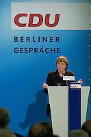 """12 JAN 2004, BERLIN/GERMANY:<br /> Angela Merkel, CDU Bundesvorsitzende, haelt die Begruessungsrede zu einer Diskussionsveranstaltung der CDU aus der Reihe """"Berliner Gespraeche"""" zum Thema """"Nach uns die Sintflut - Wohlstand auf Kosten der Zukunft?"""", Konrad-Adenauer-Haus<br /> IMAGE: 20040112-03-005<br /> KEYWORDS: speech"""