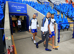 """Leicester City's Yohan Benalouane (left), Islam Slimani (centre) and Riyad Mahrez before the Premier League match at the King Power Stadium, Leicester. PRESS ASSOCIATION Photo. Picture date: Saturday August 19, 2017. See PA story SOCCER Leicester. Photo credit should read: Nigel French/PA Wire. RESTRICTIONS: EDITORIAL USE ONLY No use with unauthorised audio, video, data, fixture lists, club/league logos or """"live"""" services. Online in-match use limited to 75 images, no video emulation. No use in betting, games or single club/league/player publications.Leicester City's Riyad Mahrez (right) and Islam Slimani arrive during the Premier League match at the King Power Stadium, Leicester. PRESS ASSOCIATION Photo. Picture date: Saturday August 19, 2017. See PA story SOCCER Leicester. Photo credit should read: Nigel French/PA Wire. RESTRICTIONS: EDITORIAL USE ONLY No use with unauthorised audio, video, data, fixture lists, club/league logos or """"live"""" services. Online in-match use limited to 75 images, no video emulation. No use in betting, games or single club/league/player publications."""