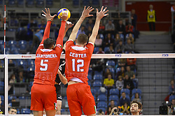 December 16, 2017 - Krakow, Malopolska, Poland - Enrico Cester (12) and Osmany Juantorena (5) of Lube Civitanova in action against  one of SKRA Belchatow during the match between Lube Civitanova and SKRA Belchatow during the semi finals of Volleyball Men's Club World Championship 2017 in Tauron Arena. (Credit Image: © Omar Marques/SOPA via ZUMA Wire)