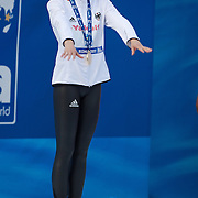 Britta Steffen of Germany on the podium after winning the Women's 50m Freestyle at the World Swimming Championships in Rome, Italy on Sunday, August 2, 2009. Photo Tim Clayton..