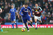 Diego Costa of Chelsea in action. Premier league match, Burnley v Chelsea at Turf Moor in Burnley, Lancs on Sunday 12th February 2017.<br /> pic by Chris Stading, Andrew Orchard Sports Photography.