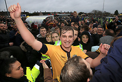 File photo dated 29-01-2017 of Sutton United's Jamie Collins celebrates victory over Leeds United. Sutton beat Championship side Leeds in the last round of the FA Cup to set up a fairytayle tie against the Premier League giants Arsenal. The Non-league Sutton United host Arsenal in the Emirates FA Cup on Monday night.