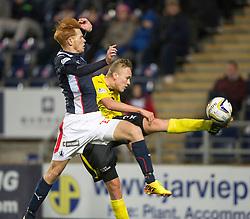 Falkirk's Scott Shepherd and  Livingston Jason Talbot.<br /> Falkirk 0 v 0  Livingston, Scottish Championship game played 21/10/2014 at The Falkirk Stadium.