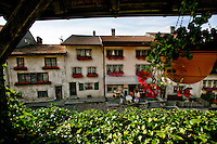 An afternoon view of the town in Gruyere, Switzerland.