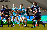Warriors lock Justin Cleggjuggles the ball during the Gallagher Premiership match Sale Sharks -V- Worcester Warriors at The AJ Bell Stadium, Greater Manchester,England United Kingdom, Friday, January 08, 2021. (Steve Flynn/Image of Sport)