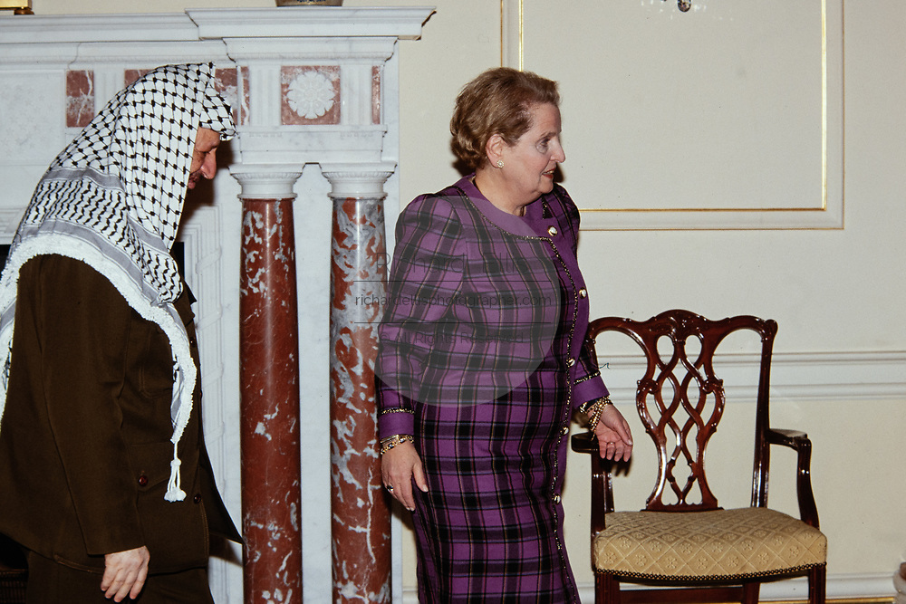 Palestinian leader Yassar Arafat, left, with Secretary of State Madeleine Albright prior to a bilateral meeting at the State Department January 21, 1998 in Washington, DC.
