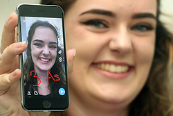 August 17, 2017 - Coleg Y Cymoedd, Wales, United Kingdom - Image ©Licensed to i-Images Picture Agency. 17/08/2017. Coleg Y Cymoedd, United Kingdom. A-Level Results South Wales. Aoife Elwood,  from South Wales, got a place at Oxford University as she picks up her  A-Level results from Coleg Cymoedd College, Near Cardiff, South Wales. Picture by Michael Hall / i-Images (Credit Image: © Michael Hall/i-Images via ZUMA Press)