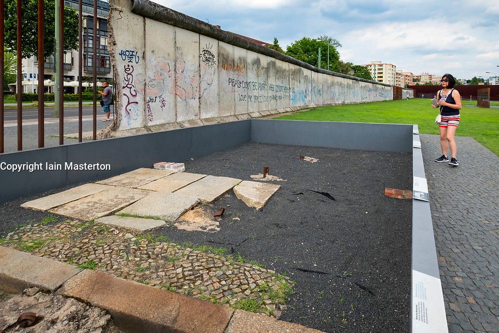 Display of past streets along route of former Berlin Wall at Berlin Wall memorial park at Bernauer Strasse in Berlin, Germany