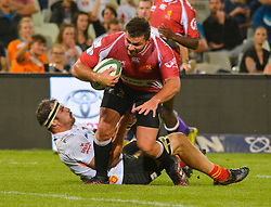 Robbie Coetzee of the Lions and Henco Venter of the Free State Cheetahs during the Currie Cup Premier division match between the The Free State Cheetahs and the Lions held at Toyota Stadium (Free State Stadium), Bloemfontein, South Africa on the 15th September 2016<br /> <br /> Photo by:   Frikkie Kapp / Real Time Images