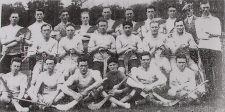Dublin All-Ireland Hurling Champions 1927. Back Row: J Walsh, J McGann, M Finn, T Barren, P McInerney, M Hayes, J O'Rourke, E Fahy, M Reidy, J Kavanagh (trainer), Merriman. Middle Row: E Tobin, T Barry, M Gill (capt), T Kelly, D O'Neill, W Meagher. Front Row: M Power, G Howard, J Gleeson and mascot, P Brown, T Daly.