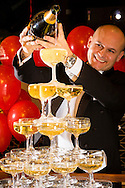 A champagne fountain with Veuve Clicquot on board Cunard's Queen Mary 2 in Southampton.<br /> Picture date: Thursday December 15, 2016.<br /> Photograph by Christopher Ison ©<br /> 07544044177<br /> chris@christopherison.com<br /> www.christopherison.com