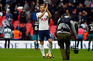 Harry Kane of Tottenham Hotspur celebrates at the final whistle with the match ball. Premier league match, Tottenham Hotspur v Southampton at Wembley Stadium in London on Boxing Day Tuesday 26th December 2017.<br /> pic by Steffan Bowen, Andrew Orchard sports photography.