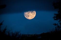 Moon over streets in Edinburgh.