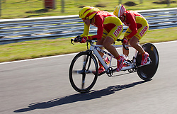 Josefa Benitez Guzman and Maria Noriega of Spain compete during Women's Individual B Time Trial during Day 8 of the Summer Paralympic Games London 2012 on September 5, 2012, in Brands Hatch circuit near London, Great Britain. (Photo by Vid Ponikvar / Sportida.com)